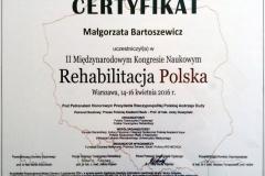 Certyfikat Kongres Rehabilitacja Polska